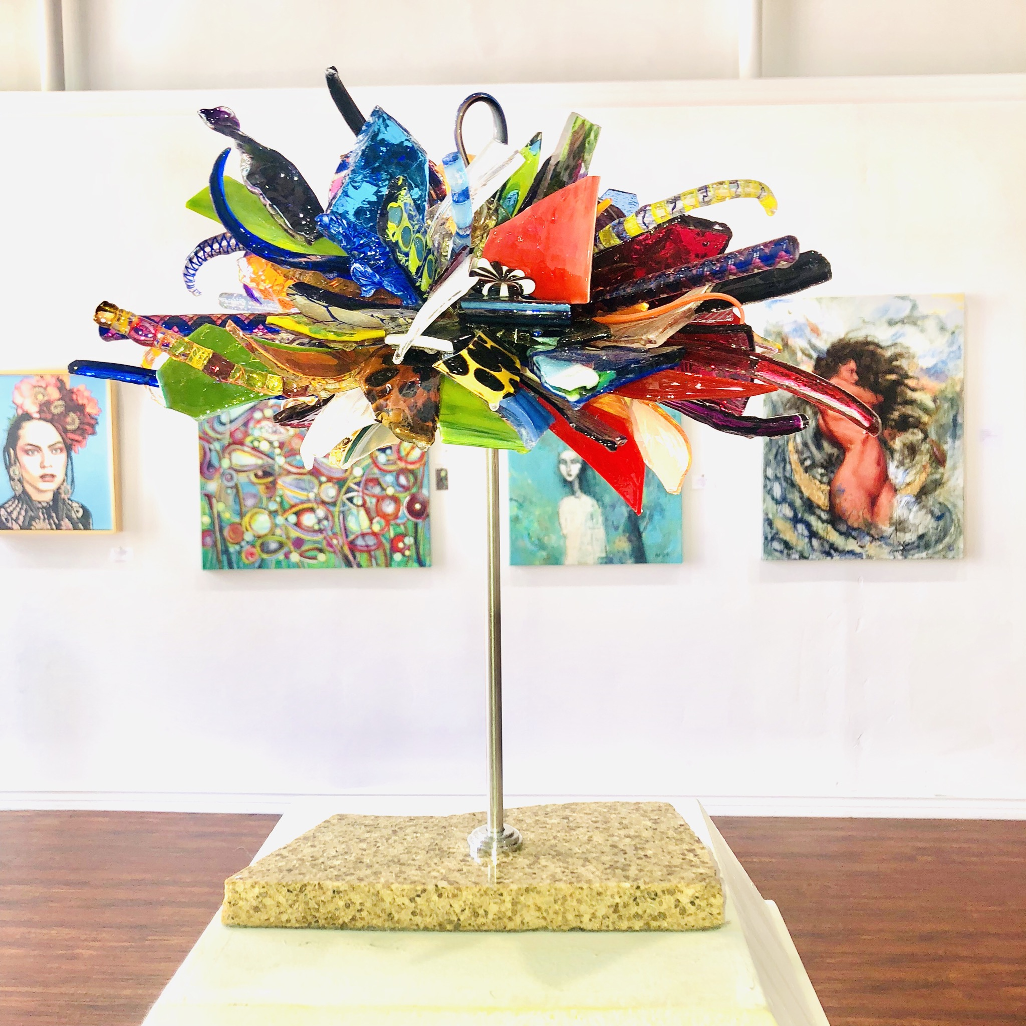photo of Lucy Harvey's glass sculpture at Glenn Dallas Gallery in Santa Barbara, CA