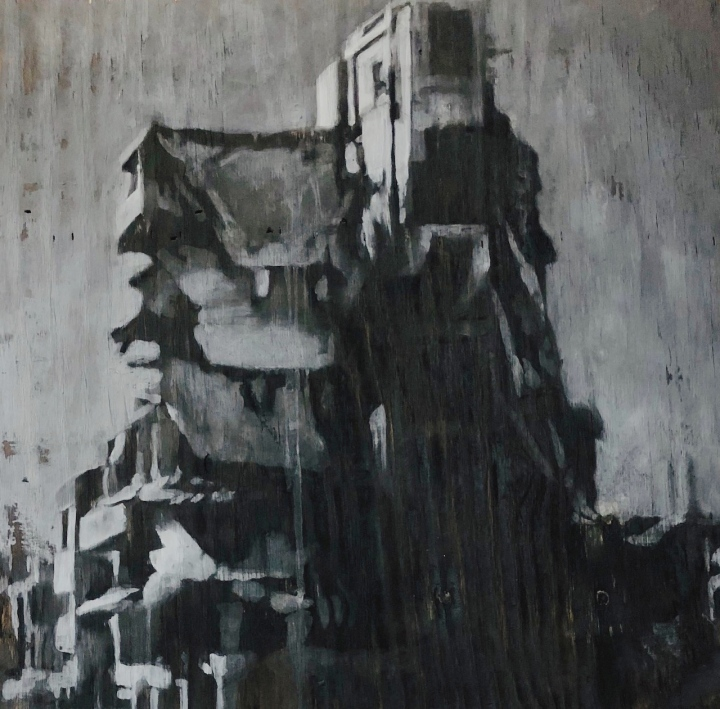 oil, charcoal & ash painting from tom pazderka, on view at glenn dallas gallery.